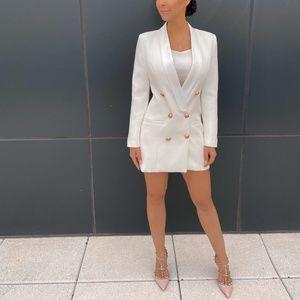 SATIN COLLAR WHITE BLAZER DRESS